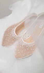 Photo of Wedding Shoes – Transparent White Lace Pearl Rhinestone Ivor…