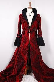 Beautiful Vampire goth coat in scarlet red brocade and black  trim...awesome!  acceb4de40dc