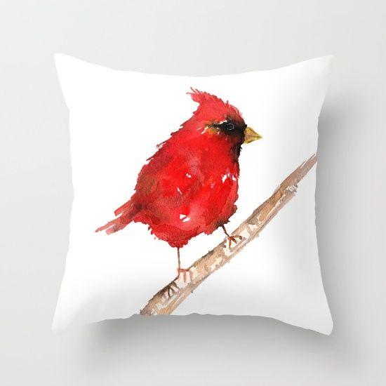 Red Cardinal Bird Christmas Decor Pillow Nature Watercolor