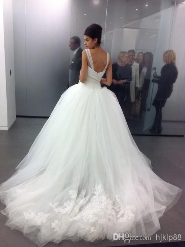 2014 Custom Made Tulle Big Poofy Ball Gown Wedding Dresses Crystal ...