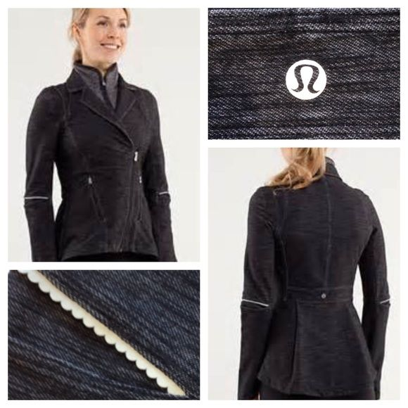 Lululemon Ride On Blazer Black Denim/Fossil. Like new condition. Slim fit denim Luon Blazer. Cotton feel. 4way stretch. Removable Rulu fabric collar. Reflective details. No trades. No PayPal. No ridiculous offers. lululemon athletica Jackets & Coats