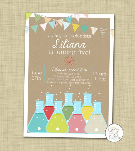 Science birthday invitation printable Girl science invitation