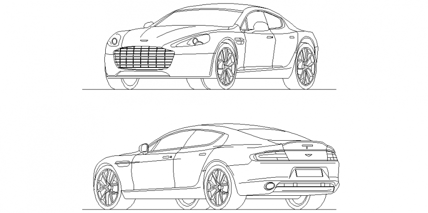 Aston Martin Rapid Car Isometric View With Front And Back Side View Dwg File Aston Martin Isometric Aston