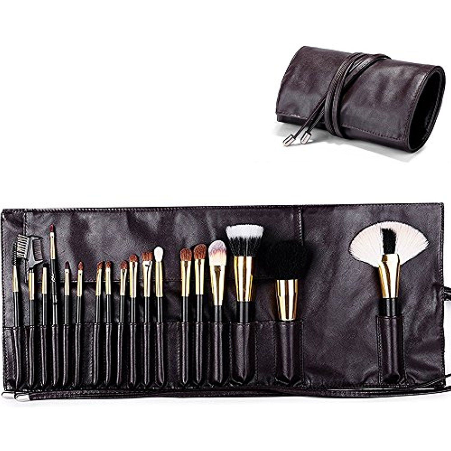 bbed0ba5cb MLMSY Makeup Brush Rolling Pouch Brushes Holder Cosmetic Bag Organizer  Travel Portable 18 Pockets Cosmetics Brushes Leather Case (Type-2)    Details can be ...