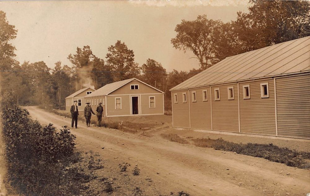 RP Postcard Military or Police with Prisoner at Barracks or Buildings~108216