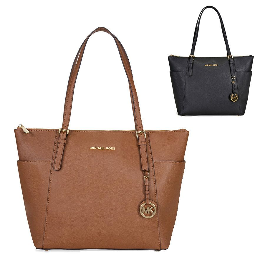 bb447b185aa7 Michael Kors Jet Set Top-Zip Saffiano Leather Tote in Luggage  Black -  LARGE  MichaelKors  ToteShoppers