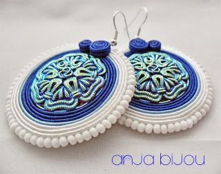 #soutache #earrings #white #bleu