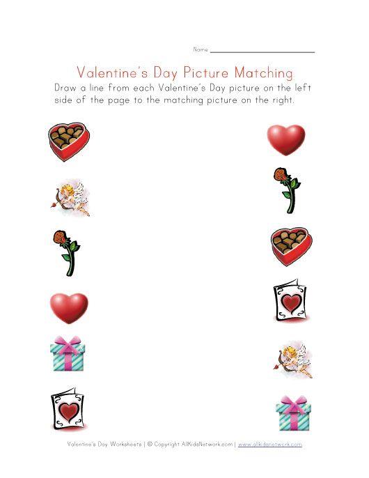 Valentines Day Matching Worksheet Valentines Day Crafts
