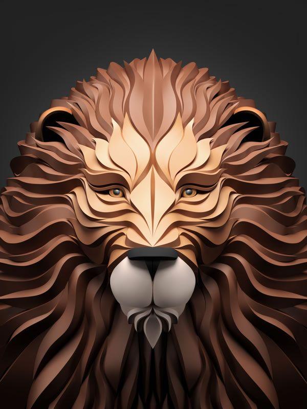 Favori Les illustrations d'animaux 3D papier de Maxim Shkret | Lion  FK51
