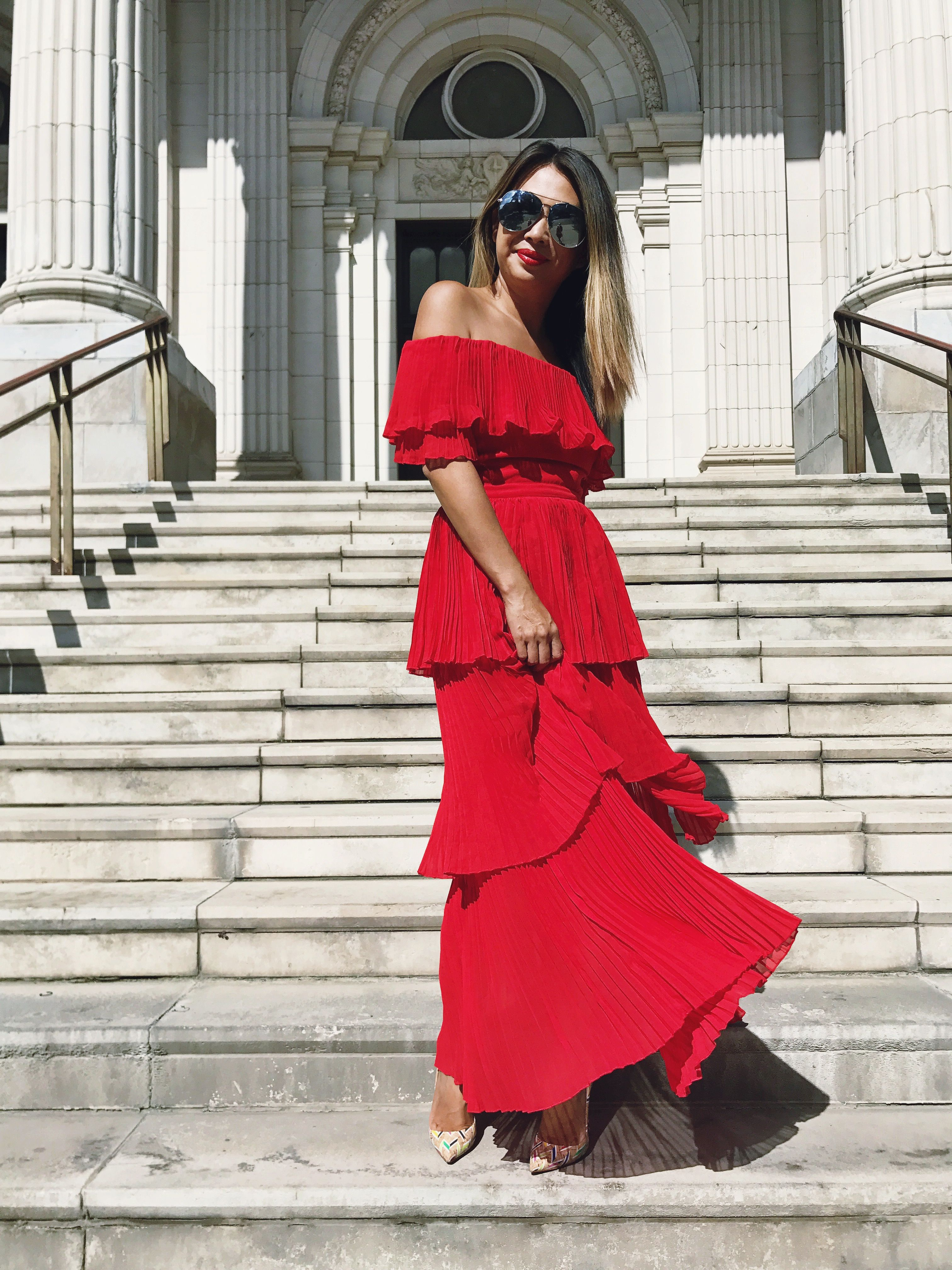 red dress, red maxi dress, ruffle dress, pleated dress, red gown ...