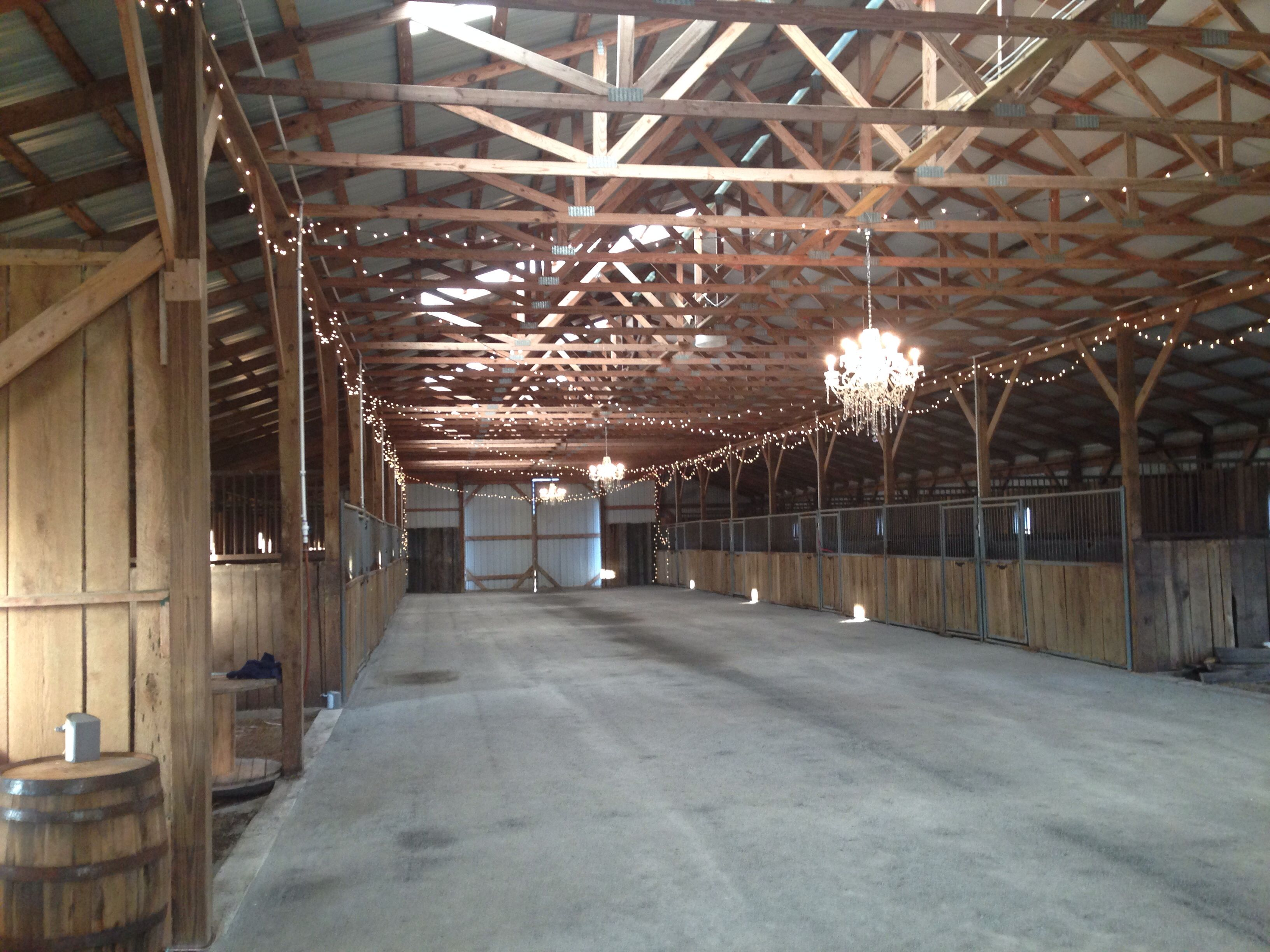 Before Construction Was Finished With Hard Wood Dance Floor Inside Of Bluegrass Wedding Barn Danville