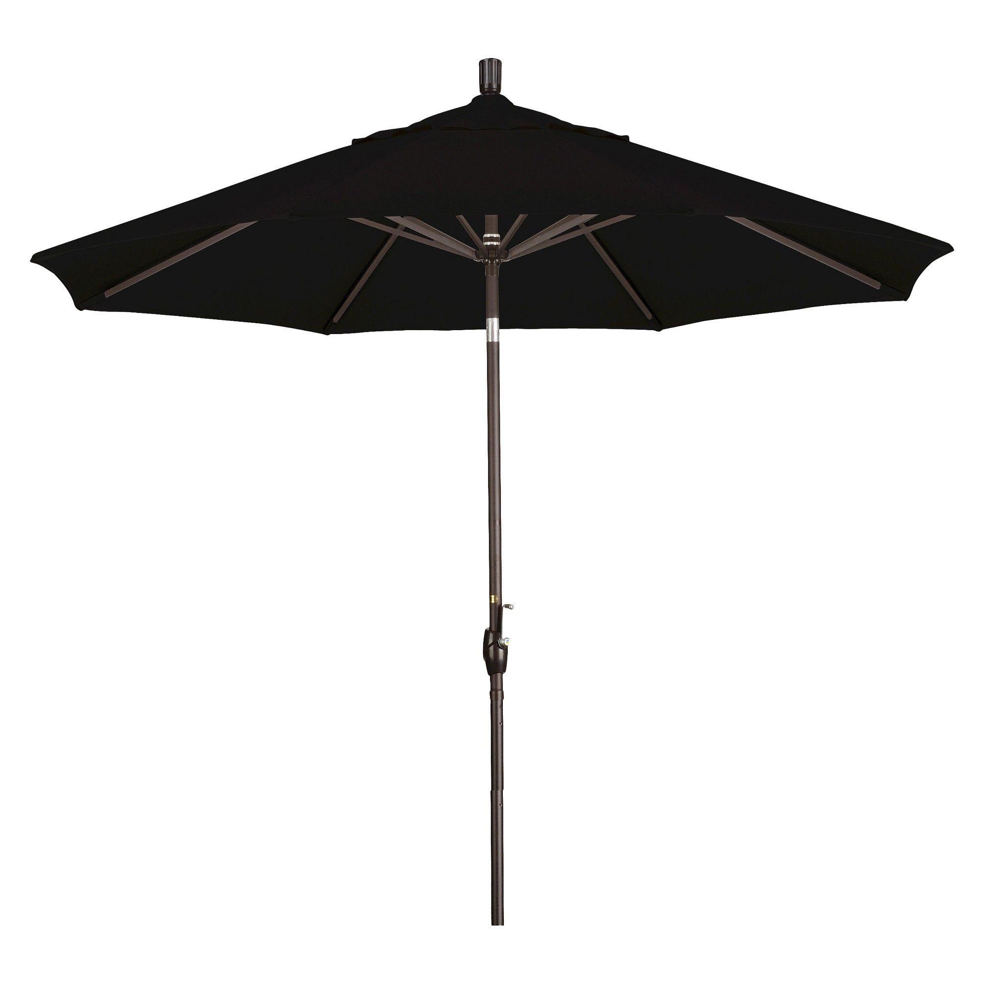 9 Aluminum Push Button Tilt Crank Patio Umbrella Black