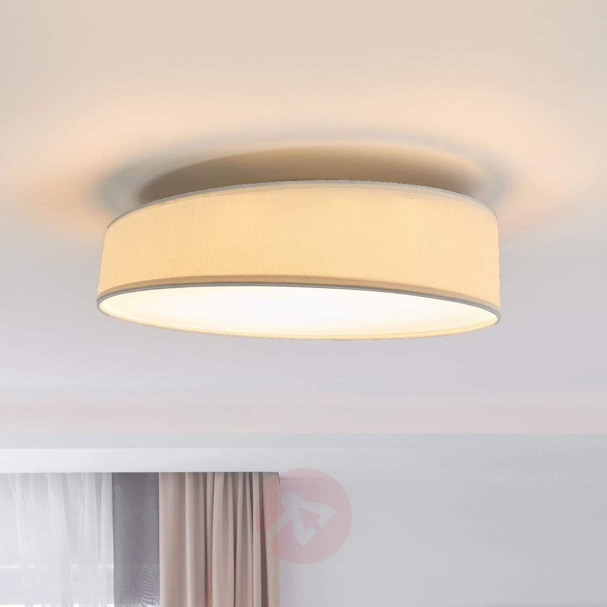 Okrągła Biała Lampa Sufitowa Led Liem Z Tkaniny Lampy
