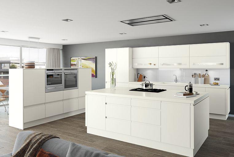 Moderna Handleless Matt White Kitchen Moda Better Kitchens Ltd Handleless Kitchens