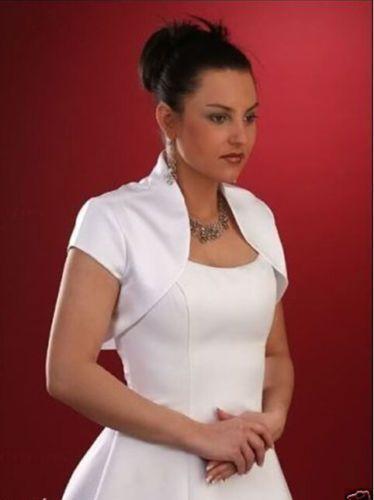 c47683351f Short-sleeve-Satin-jacket-formal-occasions-suit -shrug-shawl-bolero-coat-IVORY