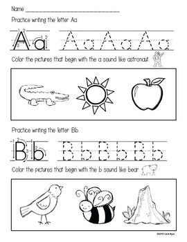 ABC Homework Pages - letter writing and sound practice ...