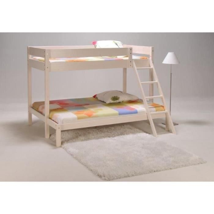 trio lit superpos 3 places 90 140x190cm coloris blanc bunk beds bed home
