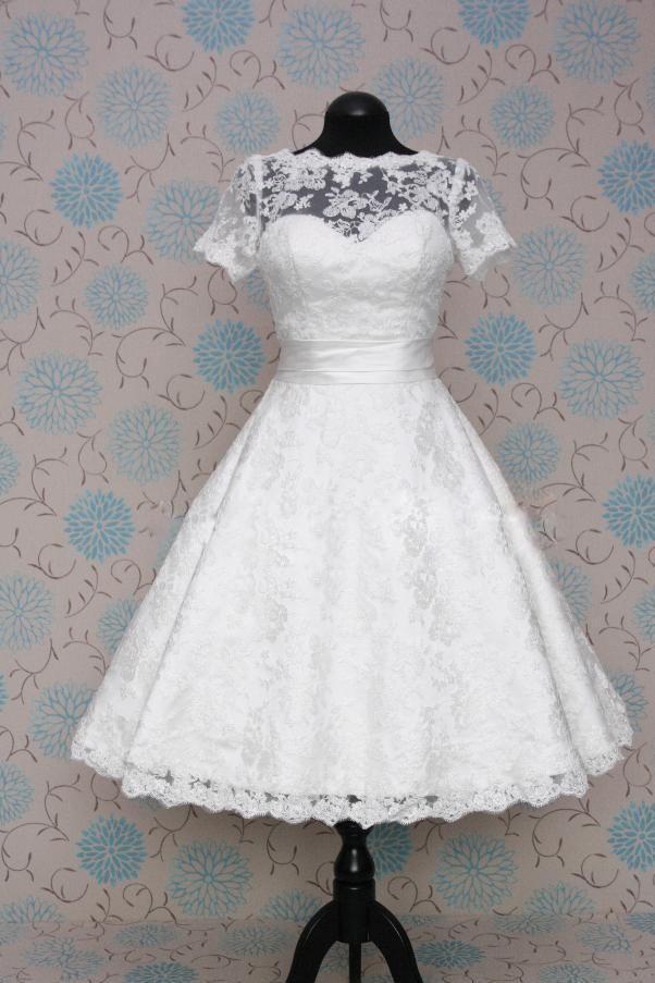 8e83c3482e97 Retro 50s 60s Short Tea Length Modest Short Sleeves Wedding Dress with Sash  Tie
