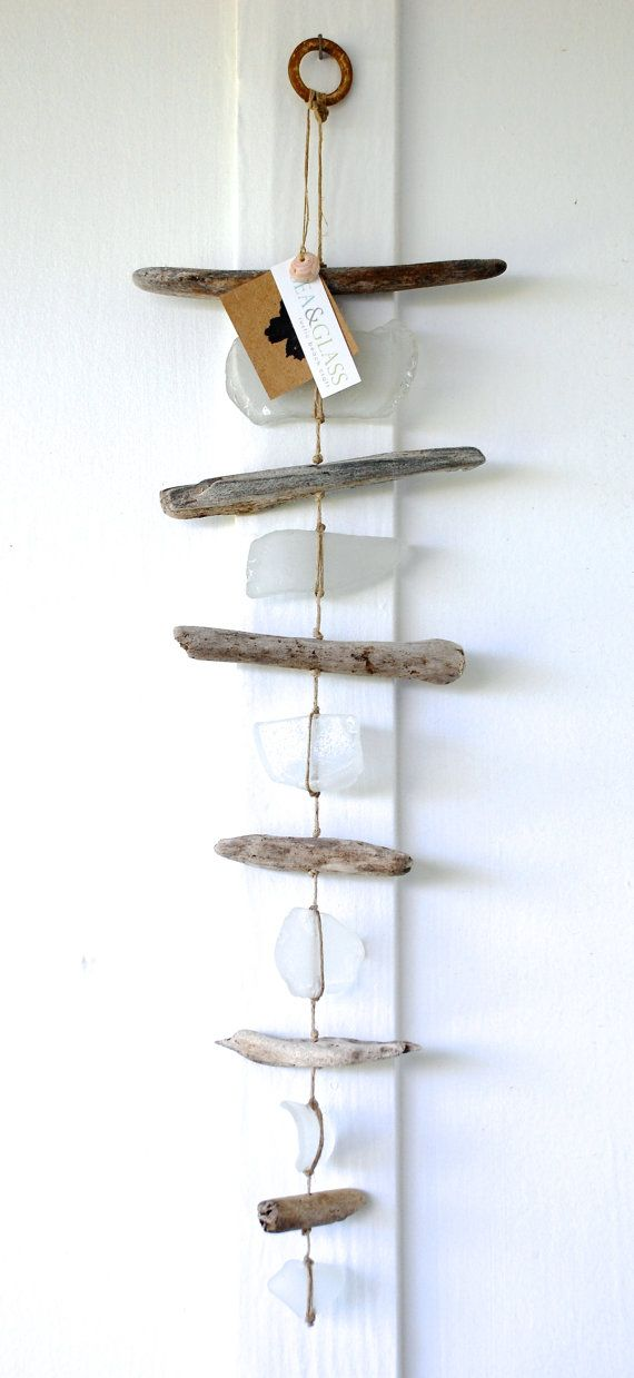 Large Single Strand Sea Glass Driftwood Hanging Mobile