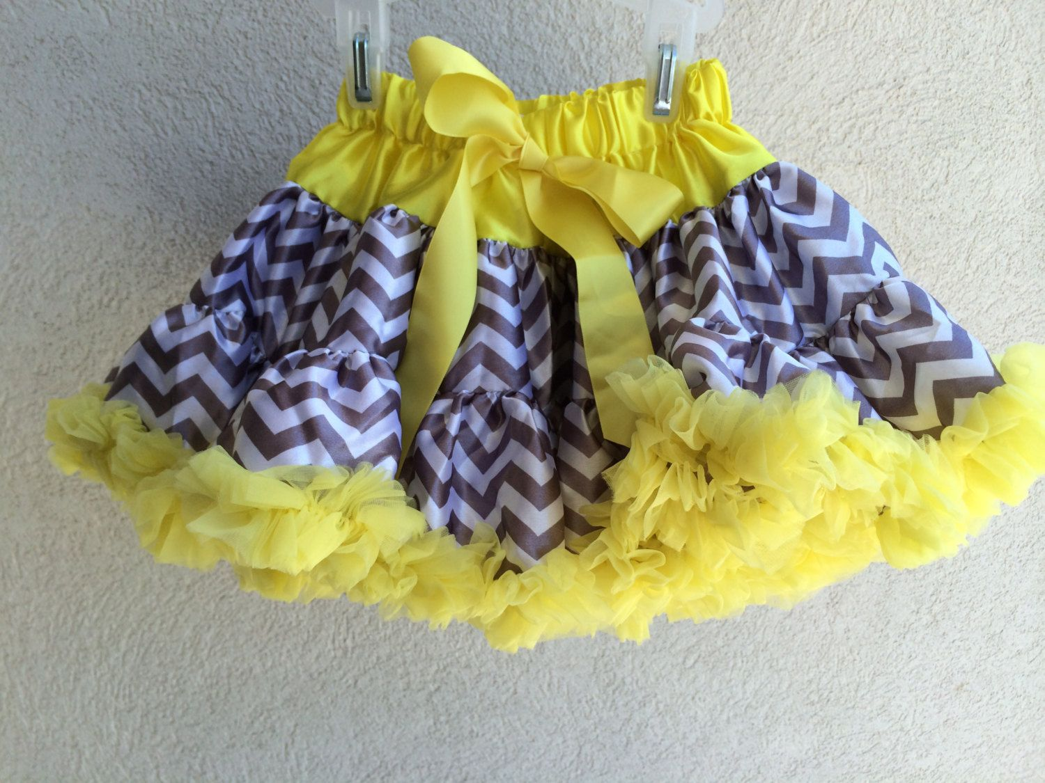 Baby Toddler Girls Gray and Yellow Chevron Pettiskirt Tutu Skirt Fluffy Party Dress by adorablebyme on Etsy