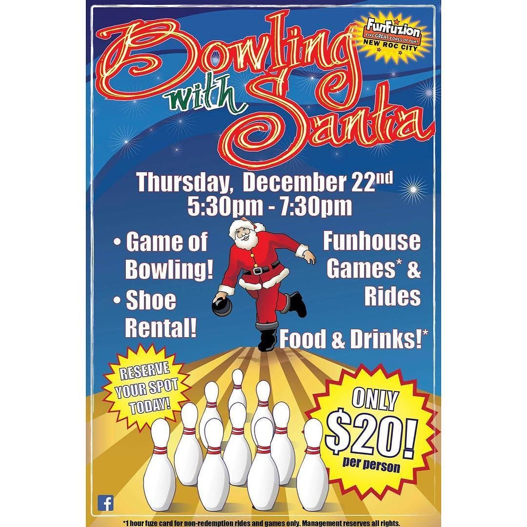 Come And Hit Some Strikes With Santa Tomorrow At New Roc N Bowl Funfuzion In New Roc City 29 Lecount Pl New R Westchester County New Rochelle New York Ny City