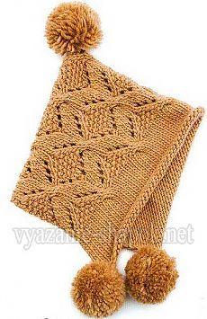 оригинальная зимняя шапка с помпоном спицами вязание шапок