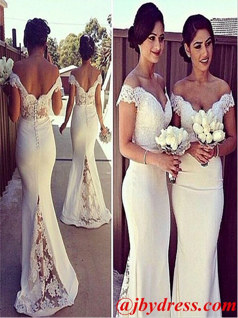 Custom made white mermaid off shoulder lace prom dresses lace