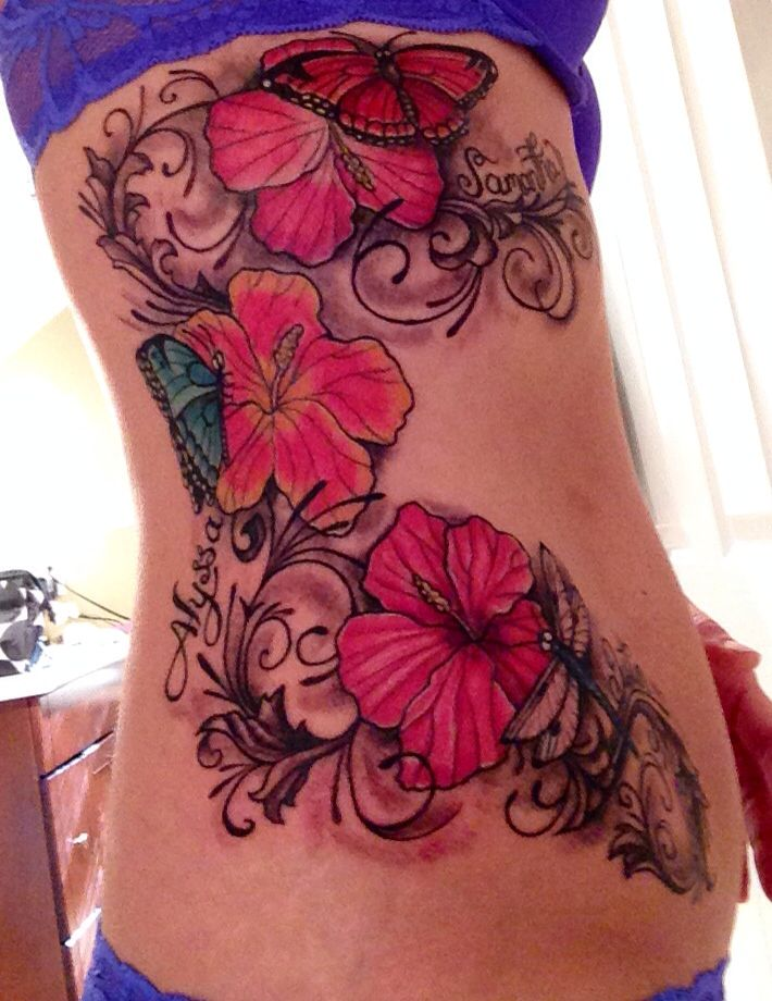 Side Flower Tattoo Designs: My New Side Rib Hip Tattoo!! Anthony's Tattoo Shop
