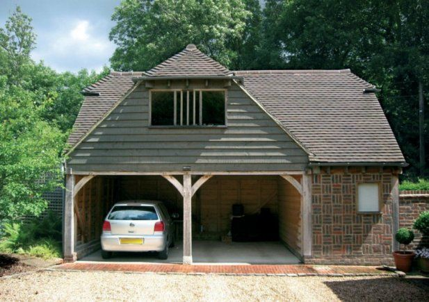Oak frame 2 bay 2 storey garages crown oak buildings for 2 bay garage