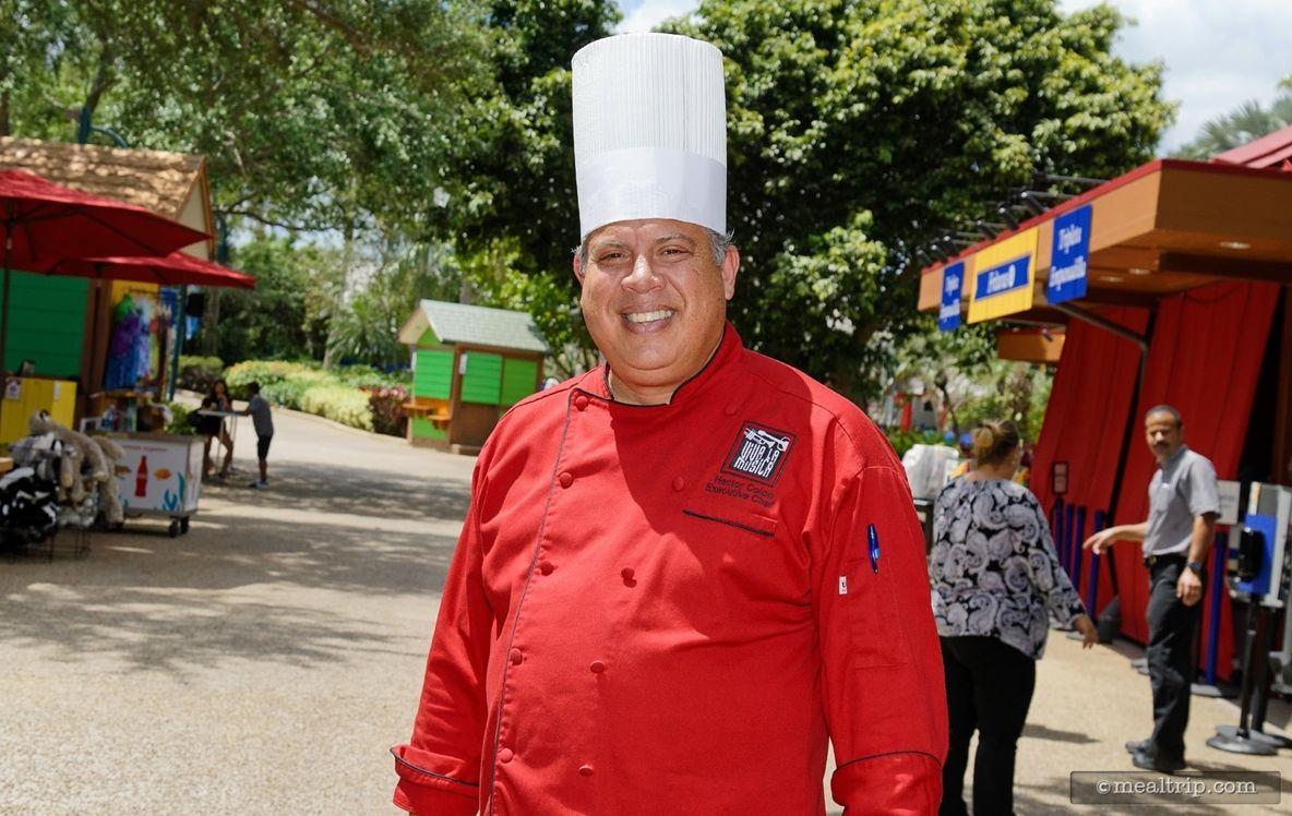 Executive Chef Hector Colon Is Still Sporting His Bright Red Viva La Music Jacket I Think The Seven Seas Food Festiva Food Festival Festival Seaworld Orlando