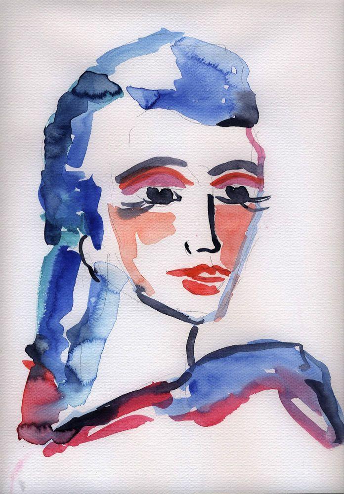 Gemälde clipart  D.Schmidt Aquarelldruck 20x30cm porträt abstrakt Zeichnung Malerei ...