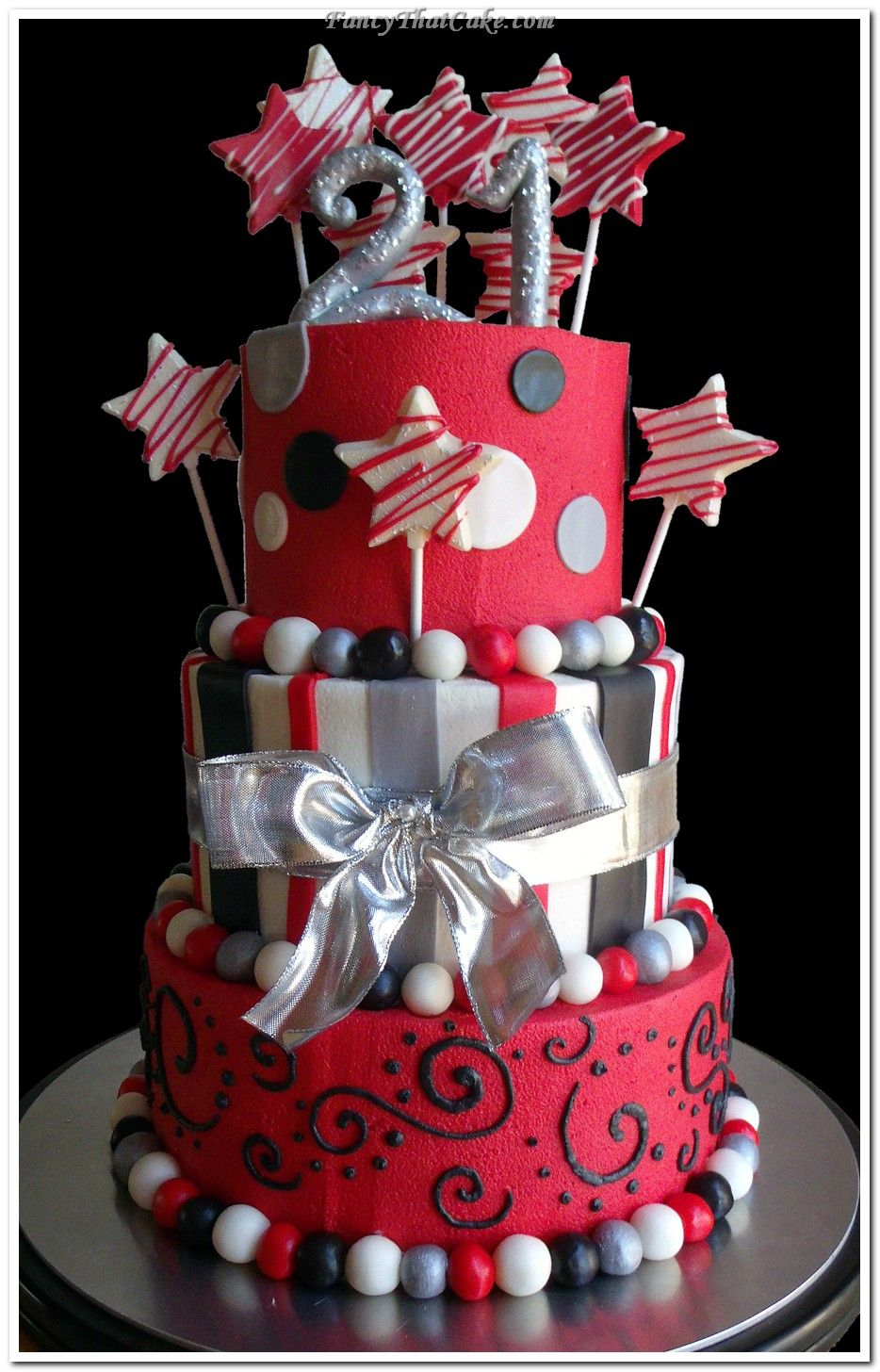 Phenomenal Black And Silver Cake Red Black And Silver 21St Birthday Cake Funny Birthday Cards Online Inifodamsfinfo