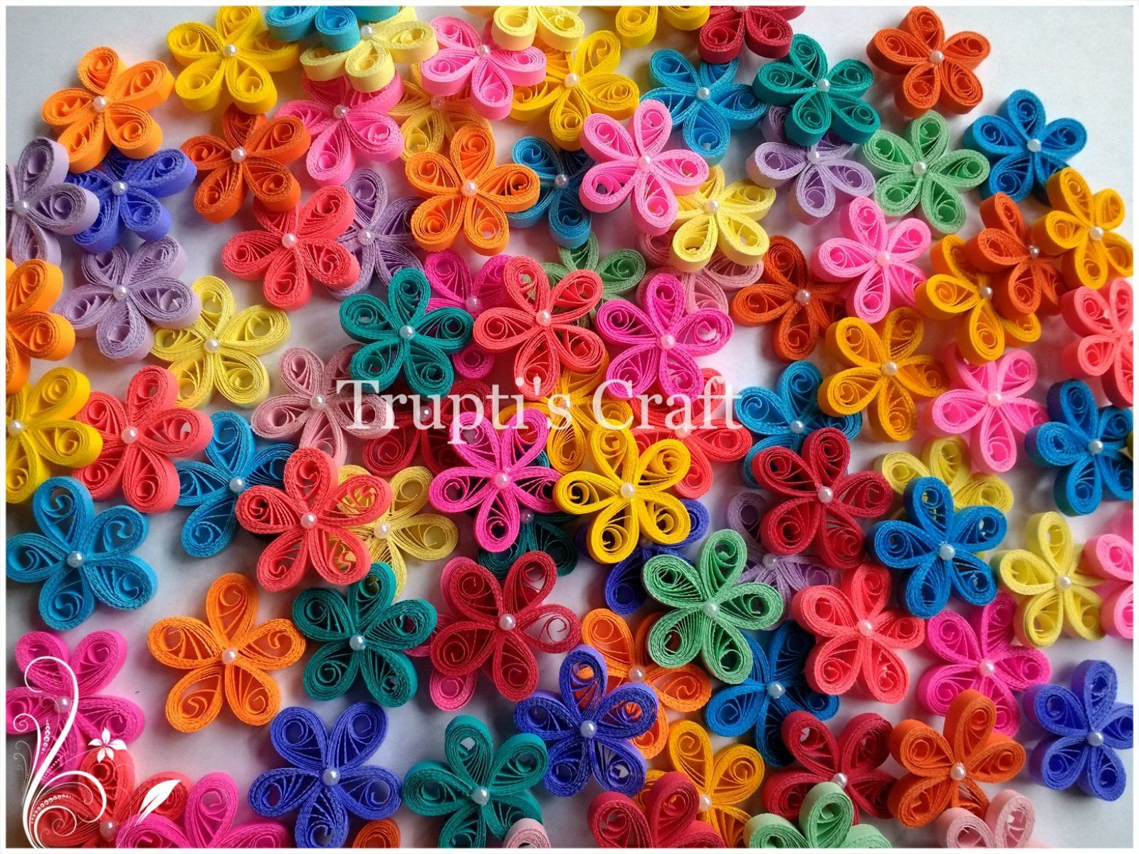 Quilling wedding decorations  Paper Quilling Small Flower Embelishment  Confetti  Wedding Baby