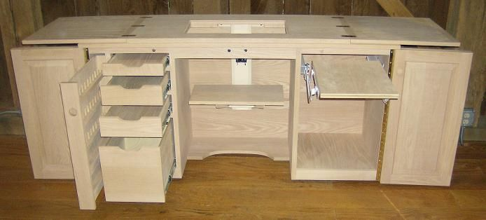 Jake's Amish Furniture - Sewing Machine Cabinet with Serger Lift ...
