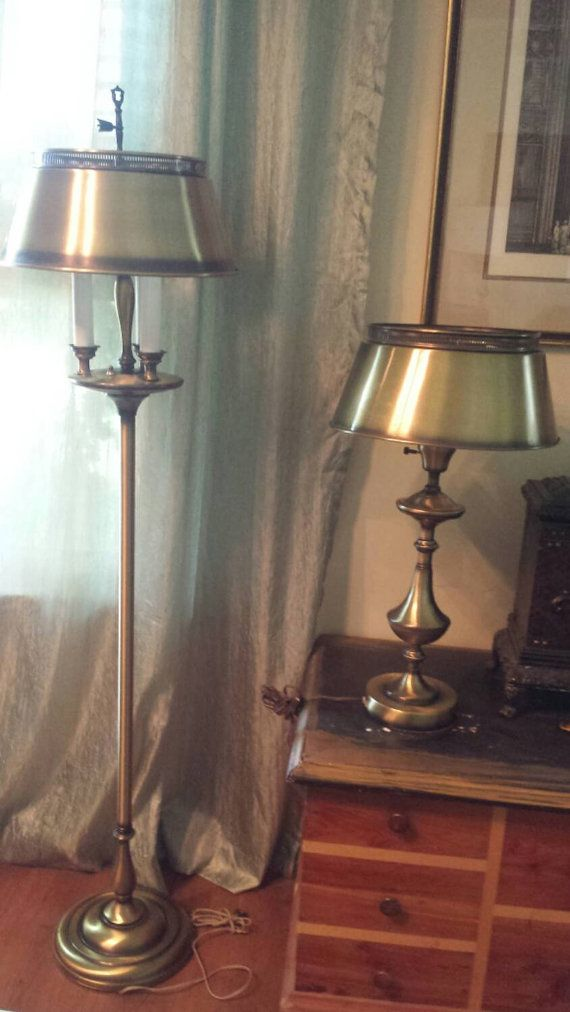 Vintage Set Of Two Brass Tole Library Floor And Table Lamp Combo