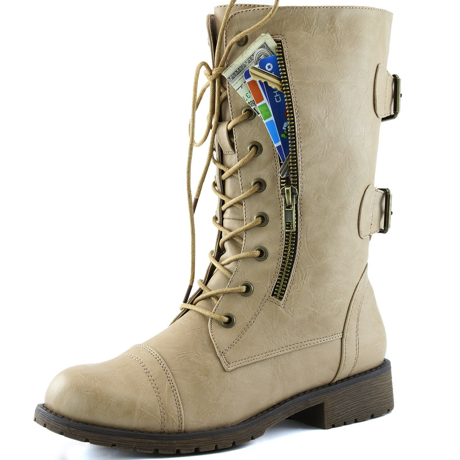 Women's Military Lace Up Buckle Combat Boots Ankle Mid Calf Fold-Down Exclusive Credit Card Pocket Brown Taupe