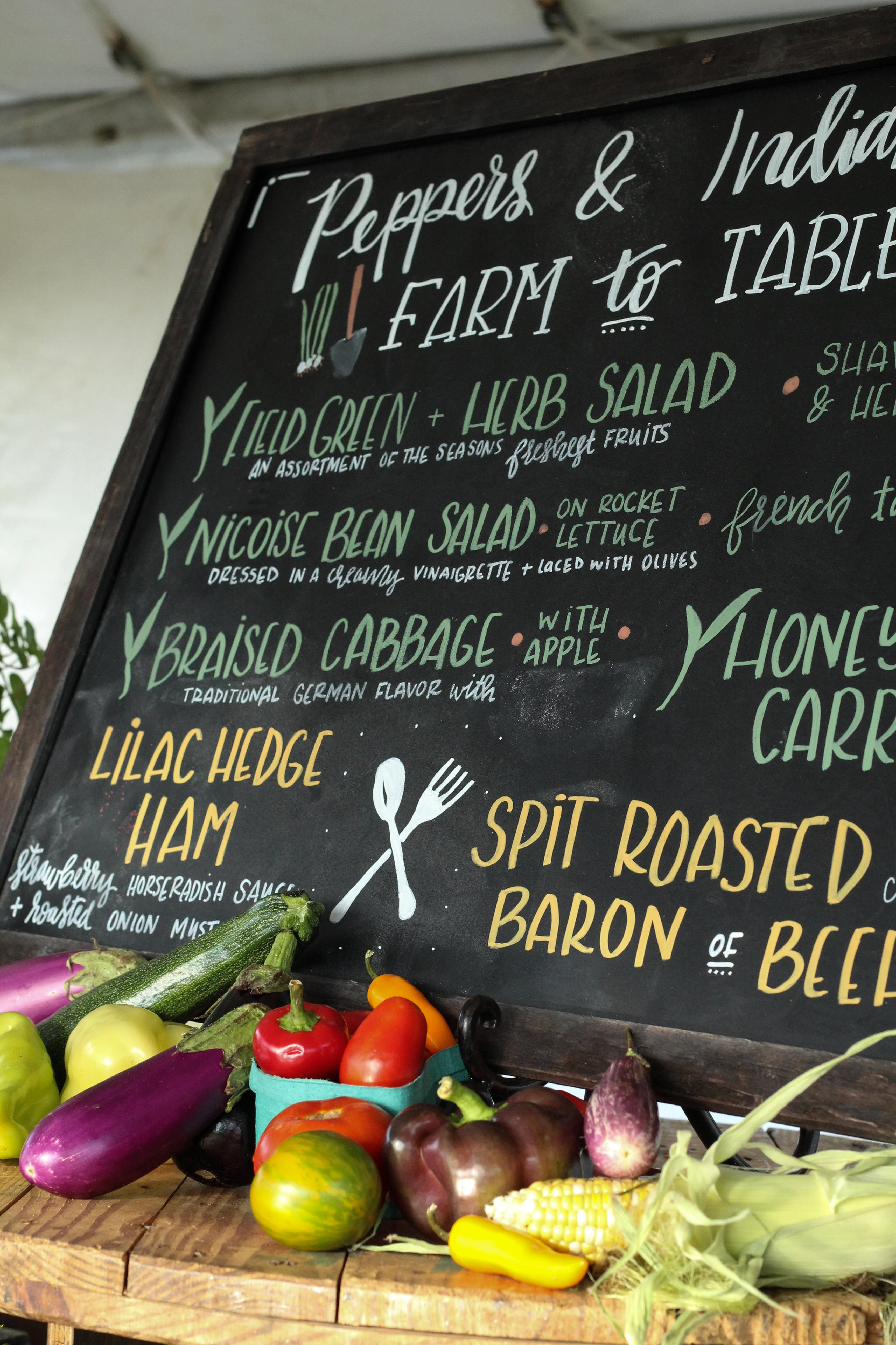 Our colorful farm to table dinner menu from our Indian