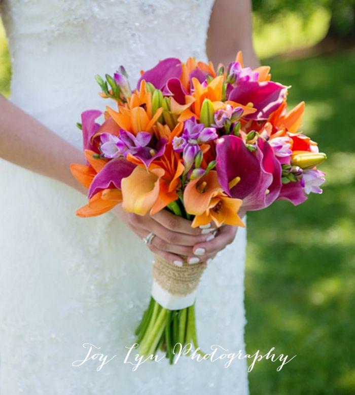 Magenta And Orange Lily Bouquet Bright Bridal Bouquet