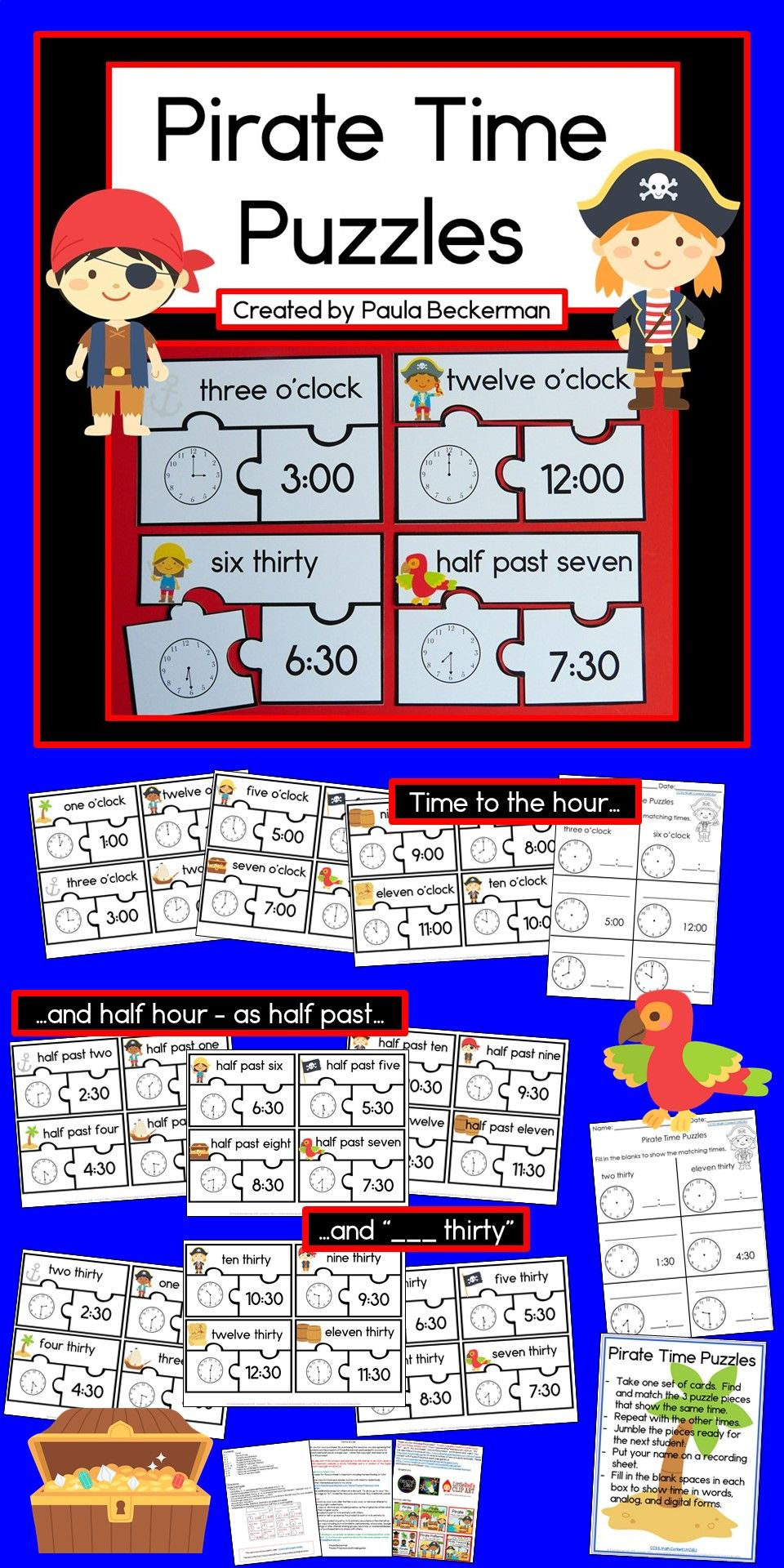 My Kids Love Pirates What An Awesome Way To Engage Them In Telling Time Practice I Love That It Include Time To The Hour Telling Time Practice Telling Time [ 1920 x 960 Pixel ]