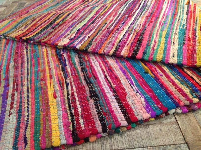 X Fair Trade Rag Rug Hand Loomed Shabby Chic Indian Recycled Cotton Multi Colour