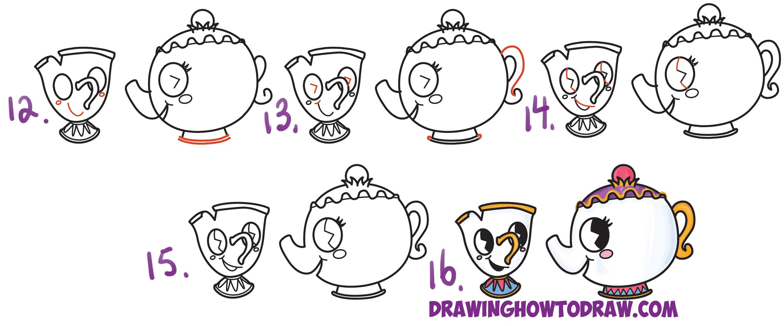 How To Draw Cute Kawaii Chibi Mrs Potts And Chip From Beauty