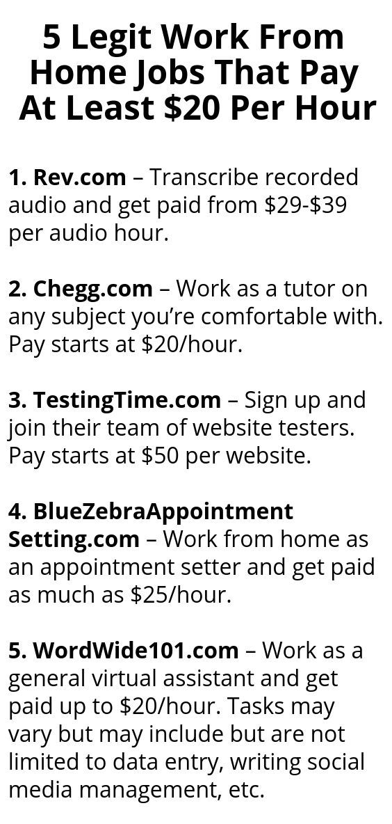 5 Legit Work From Home Jobs That Pay At Least 20 Per Hour Legit