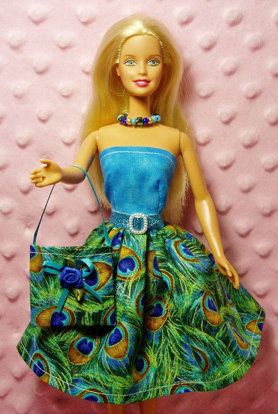 Handmade Barbie Clothes - Peacock print Dress, Purse, Necklace, Belt ...