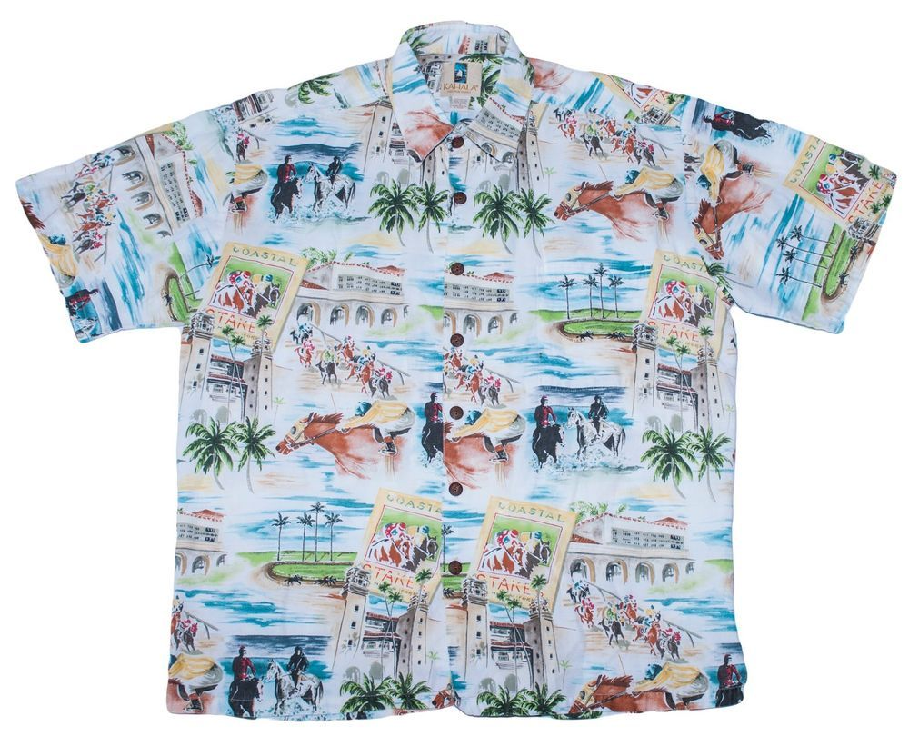 5dacbc0d Kahala Hawaiian Del Mar Camp Cruise Wear Derby Horse Racing Shirt Mens Large  L #kahala #hawaiian #shirt #mens #large #camp #cruise #wear #vacation  #delmar ...