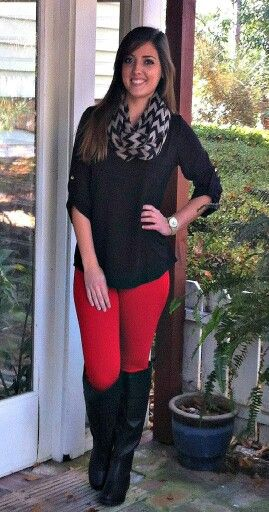 Red pants | Outfits with leggings, Red