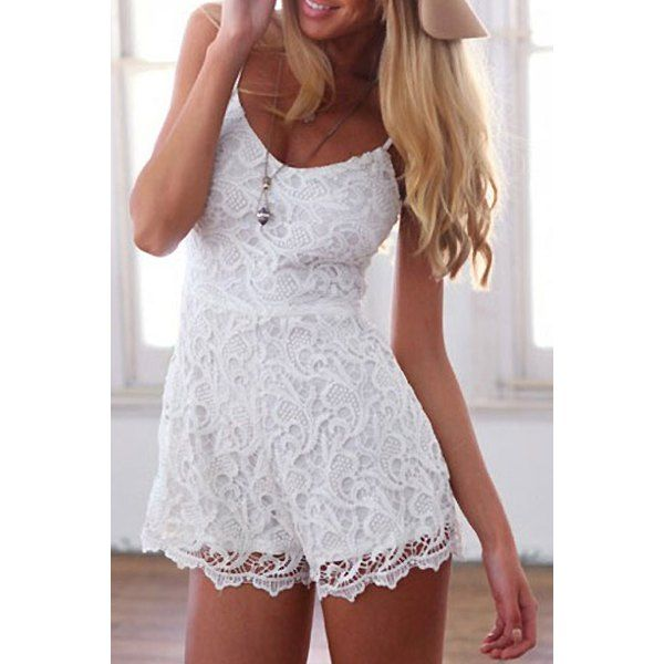 $17.91 Sexy Spaghetti Strap Lace Jumpsuit For Women