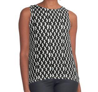 Funky Geometric Pattern Contrast Tanks #Woman #RedBubble #Clothing #Shopping