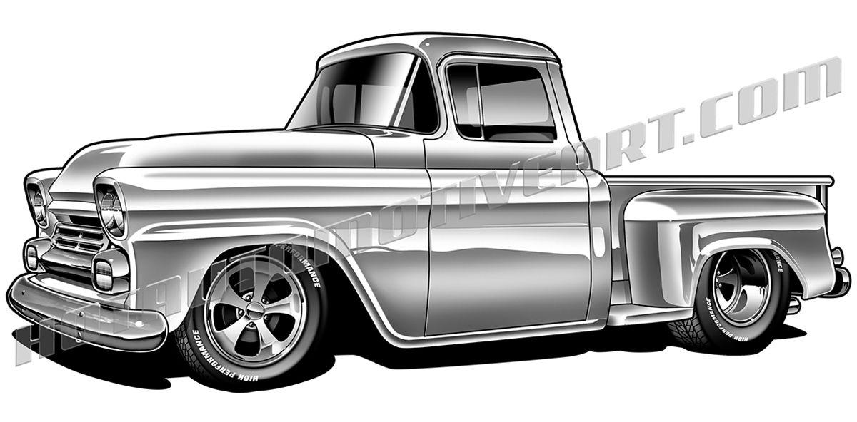 1958 Chevy Pickup Truck Clipart Chevy Trucks 1958 Chevy Truck Classic Pickup Trucks