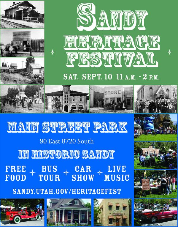 Bring yourself and the family down and have fun commemorating Sandy's heritage. Enjoy free food, entertainment, a vintage car show and inflatables for the kids.