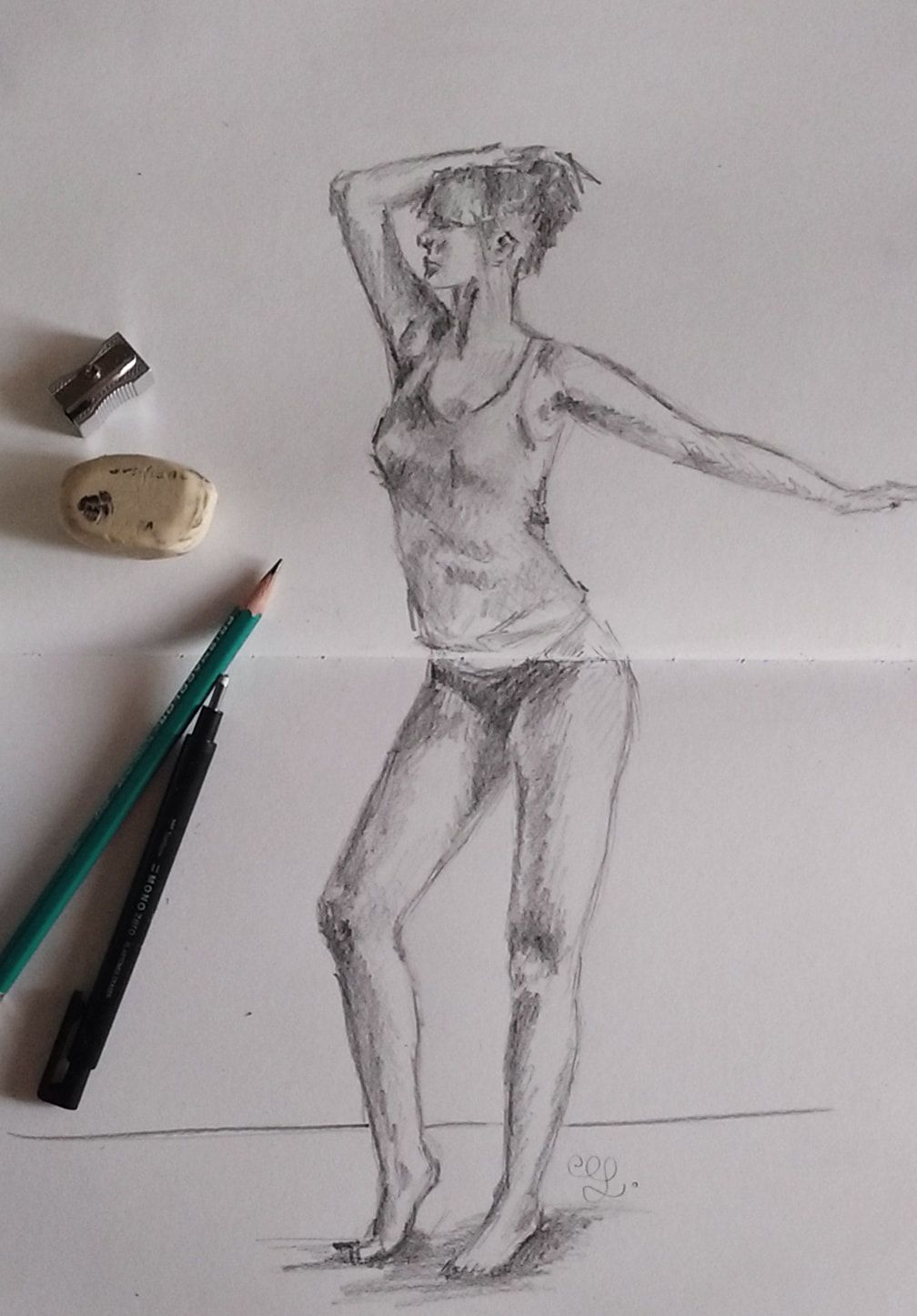 Female pose study 1 pencil sketch by erika lancaster drawing sketchbook sketch